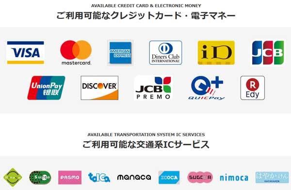 利用できるクレジットカード、電子マネー一覧